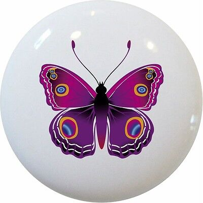 - Pink Butterfly Butterflies Cabinet DRAWER Pull KNOB Ceramic