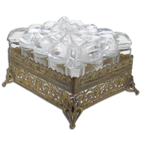 Heisey Pressed Glass Covered Brass Mounted Dresser Box
