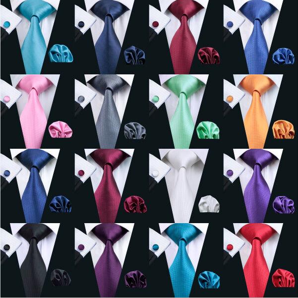 USA Solid Plain Mens Tie Set Silk 50 Colors Red Blue Black Green Necktie Wedding
