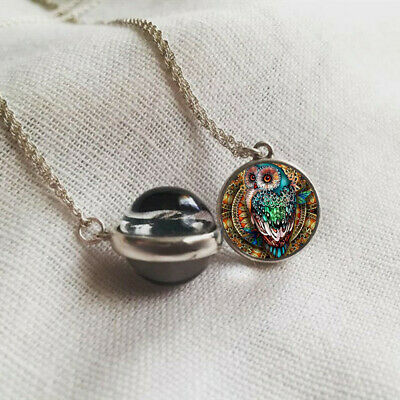 Hot Owl 16mm Glass Ball Cabochon Necklace Double Side Silver Pendant