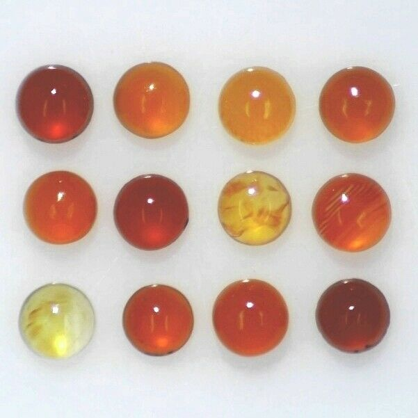 FIRE OPAL 3.00 MM ROUND CABOCHON ALL NATURAL COMMERCIAL 15 PC SET F-1681