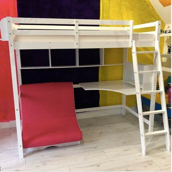 Noa Nani White High Sleeper Cabin Bed With Desk Futon Shelves Tidy And Foam Mattress In Beith North Ayrshire Gumtree