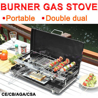 Portable Double Gas Dual Burner Outdoor BBQ Camping Cooker Stove with Grill Case