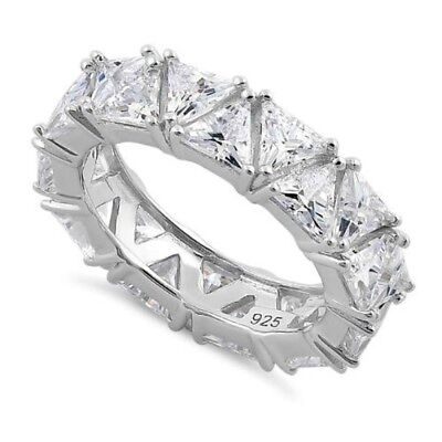 Trillion Clear 5A CZ Cubic Zirconia Wedding Eternity Sterling Silver Band Ring