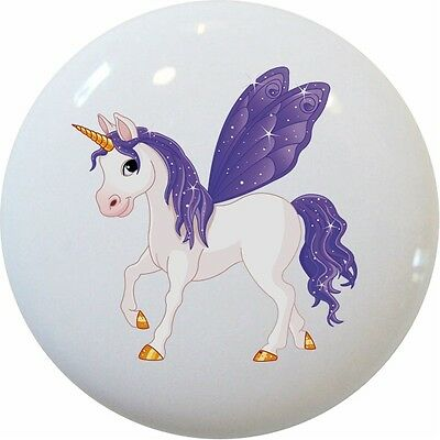 UNICORN Purple Ceramic CABINET DRAWER Pull KNOB Ceramic Cabinet Drawer Pull Knob