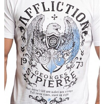 Affliction Mens T Shirt Virtue Georges St Pierre White Fight Biker Mma Ufc  58