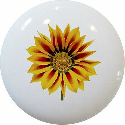 - SUNFLOWER Floral CABINET DRAWER Pull KNOB Ceramic