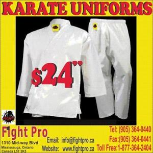 KARATE UNIFORM, MEDIUM WEIGHT, POLY/COTTOM,SAVE UPTO 60% OFF, WE CARRY ALL KINDS OF UNIFORM,(905) 364-0440 FIGHTPRO.CA