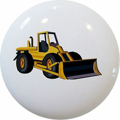 (Yellow BULLDOZER Cabinet DRAWER Pull KNOB Ceramic)