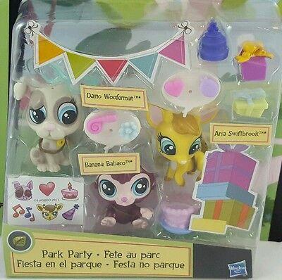 New Littlest Pet Shop Pets in the City Park Party 3 Pak Monkey Deer Dog 89 90 91 (City Party Shop)