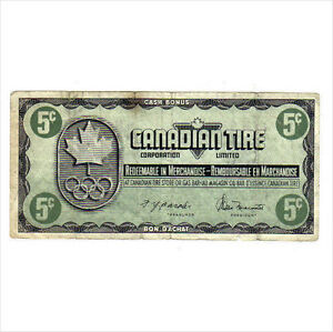 1976 5c CANADIAN TIRE MONEY NOTE coupon 1976 Olympics KN1168523