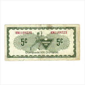 1976 5c CANADIAN TIRE MONEY NOTE coupon 1976 Olympics KN1168523 Kitchener / Waterloo Kitchener Area image 2