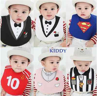 Baby Boy/Girl Costume Bibs - Superman.Coach.Tuxedo.Party Princess.Pirate 0-3 yrs - Baby Girl Superman Costume