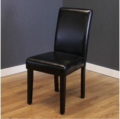 NEW Black Faux Leather Dining Chairs Set of 2 Cheap Table Bar Furniture Durable