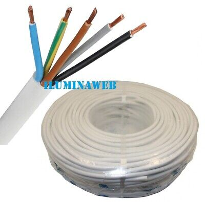 100 Metro Manguera blanca flexible 5x1.5mm2 H05VV-F cable blanco electrico 2500w