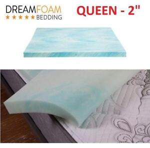 "NEW DREAMFOAM MATTRESS TOPPER 2"" DF20GT2050 223357537 QUEEN BEDDING GEL SWIRL"
