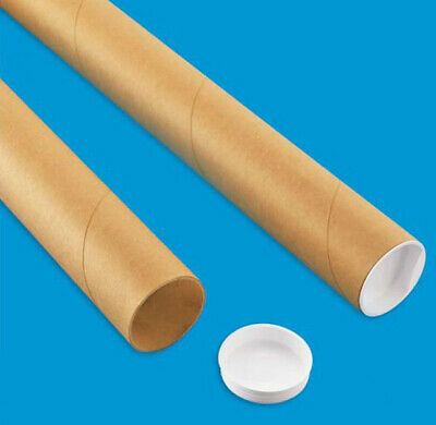 2 Mailing Tubes With End Caps 2 X 24 Shipping Poster Artwork Print Packing