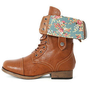 Womens Fold Over Floral Military Combat Boots Motorcycle Riding Lace ...