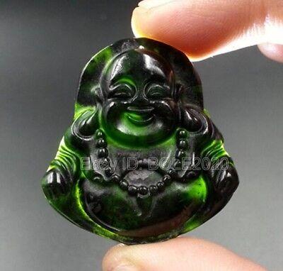 Green Jade Carved Buddha Pendant (Chinese Natural Black Green Jade Carved Laughing Buddha Lucky Pendant +)