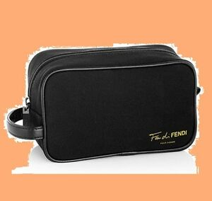 Fendi Fan Di Men Pour Homme Black Toiletry Dopp Kit Shaving Cosmetic Case Bag