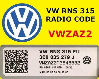 Official VW Radio Code Beta Gamma RCD510 RCD500 RCD310 RCD300 RCD215 RCD210 etc