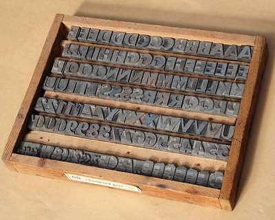 CHAMBORD 60p Bleischrift im Holzkasten Bleisatz Schrift Alphabet lead type