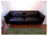 Black leather sofa •free delivery