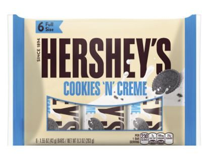 Hershey's Cookies N Cream Bars Candy Bars 6 Full Size Chocolate and](Cookies And Cream Chocolate)