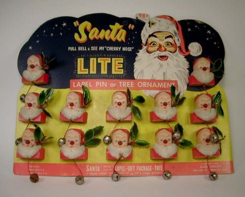 Vintage Christmas Santa Light Up Nose Pin Counter Display Containing 12 Pins