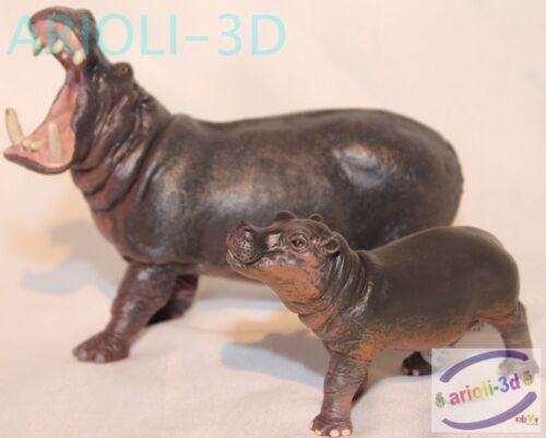 Hippopotamus Adult And Baby Calf Papo Hippopotame Wild