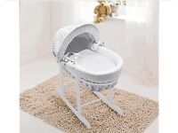 Kinder valley white Moses basket Bassinet rocking carry cot with stand