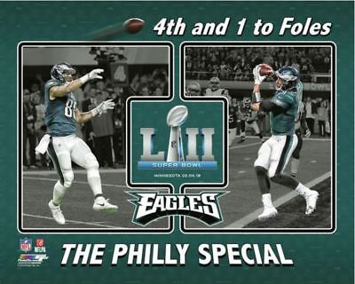 1069f897424 Trey Burton to Nick Foles 4th   1 The Philly Special Super Bowl LII 8x10  Photo