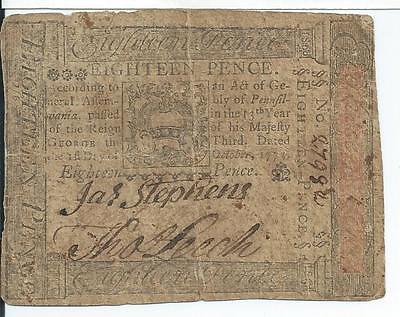 Colonial Philadelphia Pennsylvania PA163 10/01/1773 Eighteen 18 P Currency 27982