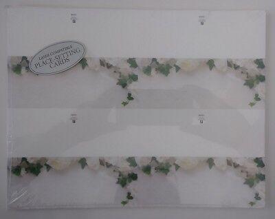 Wonderful English Ivy & White Roses Themed Wedding Tent Place Setting Cards
