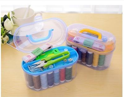 Threader Needle Thread Tape Measure Scissor Thimble Storage Box Sewing Kits LU
