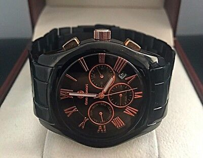 7 DAY AUCTION! RRP£300+ Enzo Giomani Mens Black Rose Gold WATCH Tag Em Boss Box