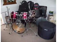 Pearl DX pro series drum Kit,inc cases.