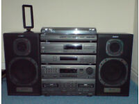 SONY hi-fi XO-D50 system, turntable, CDP-M35 cd player, SS-A70 80W speakers, Philips microphones