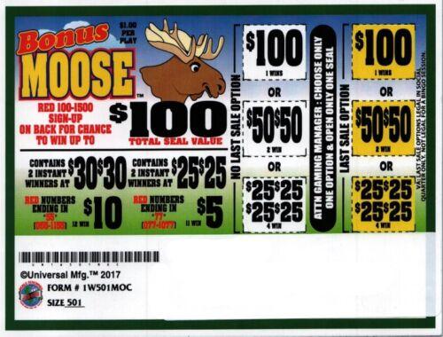 Bonus Moose 1W Pull Tab 501 Tkts $100 Prize seal card bingo Last Sale option