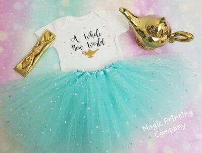 Girls Princess Aladdin Jasmine 1st Birthday Outfit Baby Tutu Dress Cake Smash  - Jasmine Outfits
