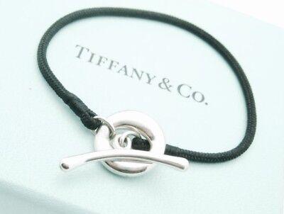 Tiffany & Co. Elsa Peretti Sterling Silver Sevillana Toggle Silk Cord Bracelet (Tiffany And Co Friendship)