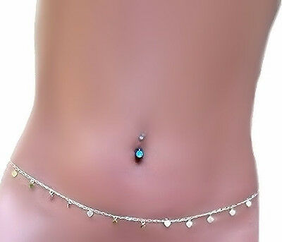 Love Charms Hearts Silver sep Figaro Neck 2 Belly Chain