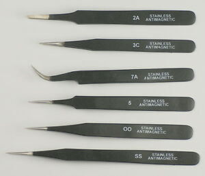 Quality-set-6-tweezers-black-epoxy-coated-watchmakers-jewellers-00-3C-2A-5-7-SS