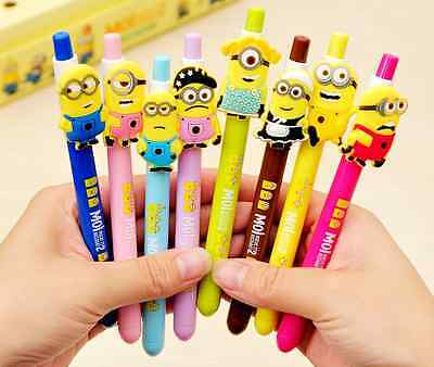 2 x Cute Minion Family Pen Party Cute Kids novelty stationery Fun Black Ink