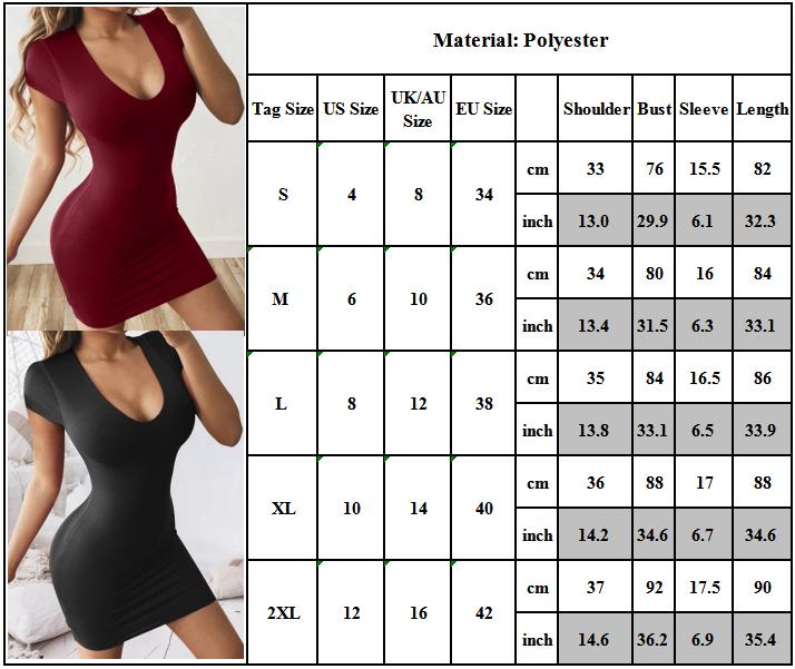 SEXY Women Short Sleeve Bodycon Mini Dress Stretch Cocktail Party Clubwear Dress