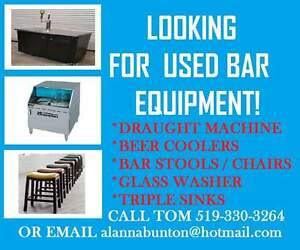 LOOKING FOR USED COMMERCIAL BAR EQUIPMENT!