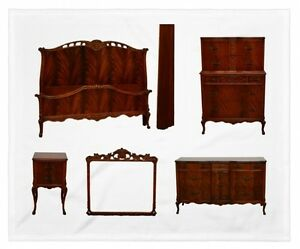 1930's -40's  Mahogany French Style Carved 5 pc Bedroom Set Suite