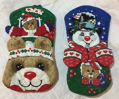 ❤️Pot Holder Mitts Set Of 2 Christmas Bear & Snowman Puppets For Kids