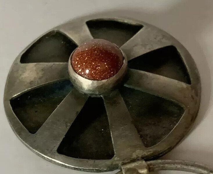 Handmade Celtic Sterling Silver Goldstone Penannular KILT BROOCH Cloak PIN