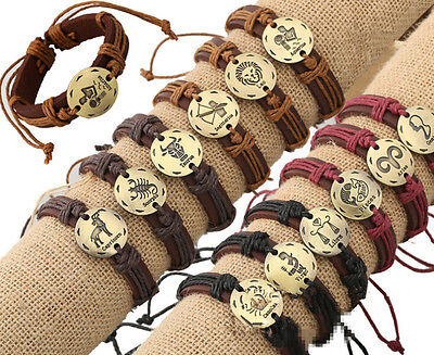 (Wholesale 12pcs Bronze tone twelve constellations Hemp Genuine Leather Bracelet)
